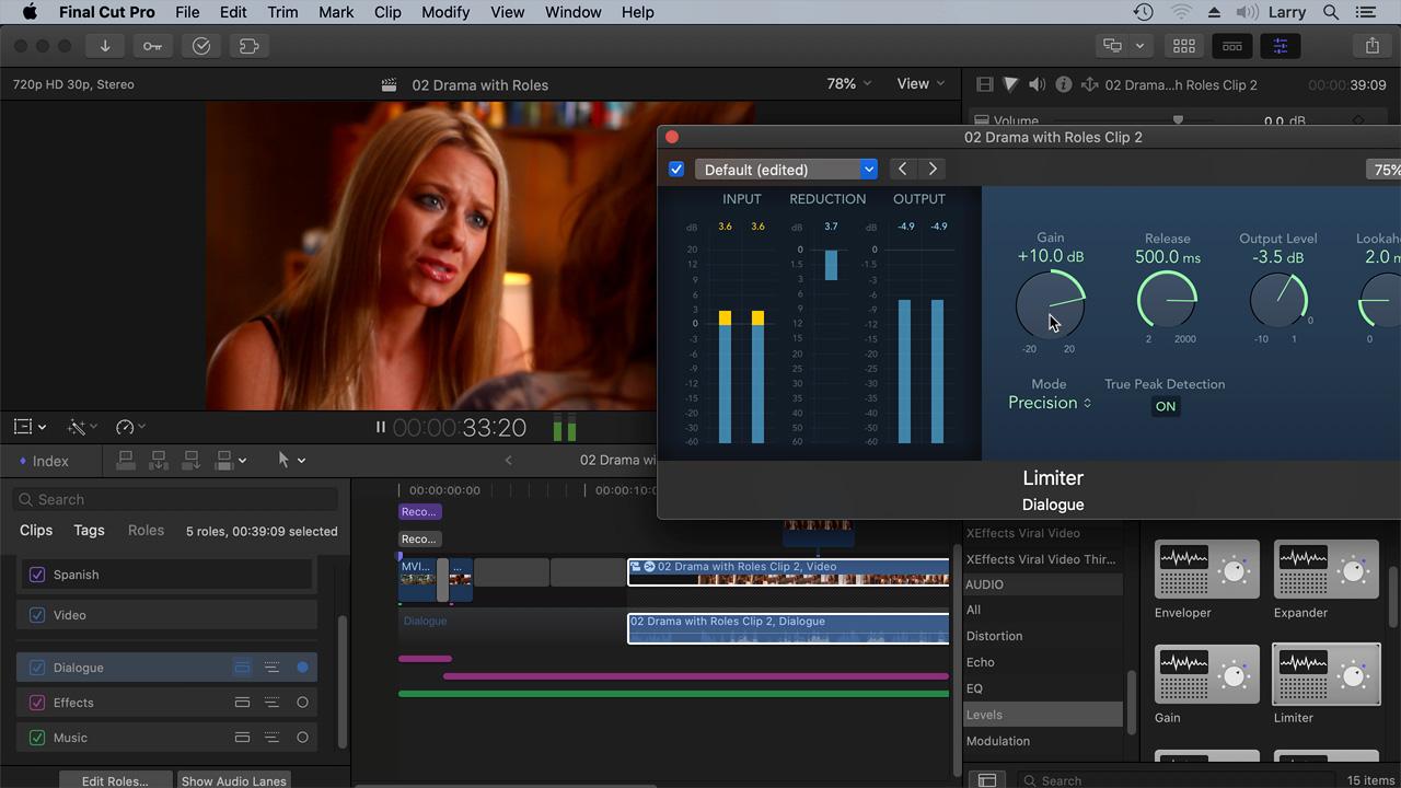 287 The Basics Of Editing With Final Cut Pro X Pt 3 Timeline Audio Larry Jordan